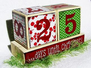 "Countdown to Christmas blocks using favorite Christmas scrapbook papers!  The blocks are 4x4 each and the base is around 9"" long. You can customize the look changing the paper to any color you like."