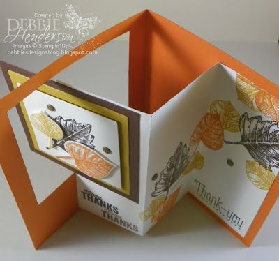 VINTAGE LEAVES. Stampin' Up! and a Pop-Out Swing Card. YouTube Video included. Debbie Henderson, Debbie's Designs.