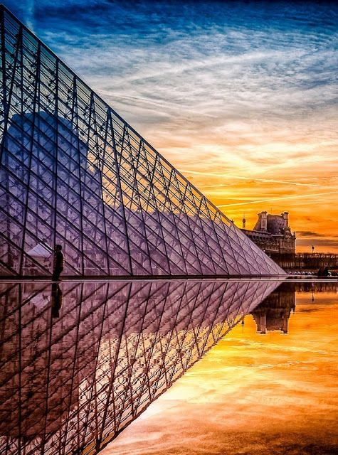 The Louvre at Sunset.  Paris, France.