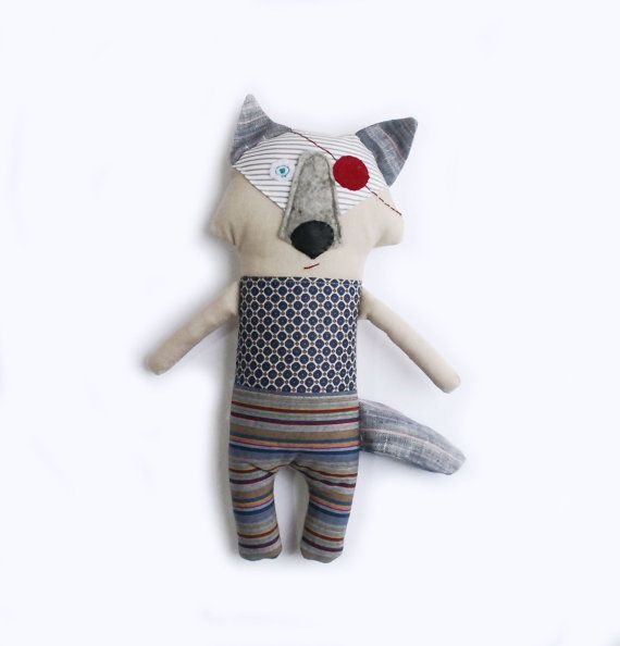 Gift for newborn. Stuffed Wolf Doll,Handmade Modern Baby Toy,Soft Rag Wolf doll,First Gift for Baby,Gift for Toddler Boy,Baby Shower gift,Rag Animal