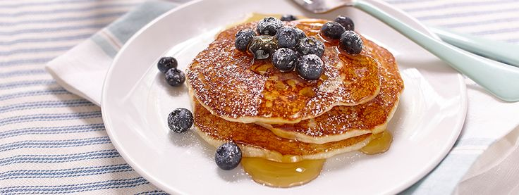 Gluten Free Banana Pancakes | Mornings can be busy, so we've made baking simple. With just 2 easy steps, making these Gluten Free* Banana Pancakes is a flat-out quick and yummy way to start the day with family fun.