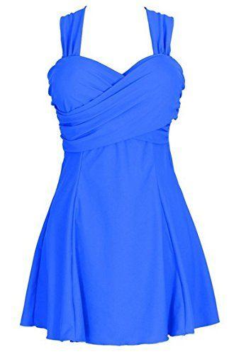 Wantdo Damen Figurformender Einteiliger Badeanzug Plus Gr��e(Blau,2X(EU38-40))