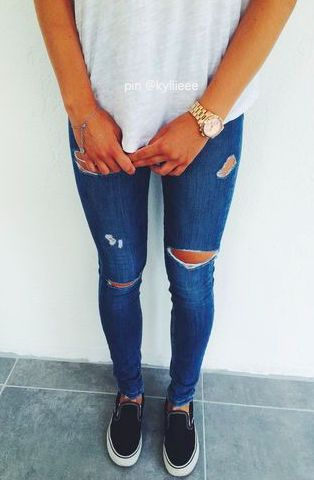 Jeans and slip-on sneakers