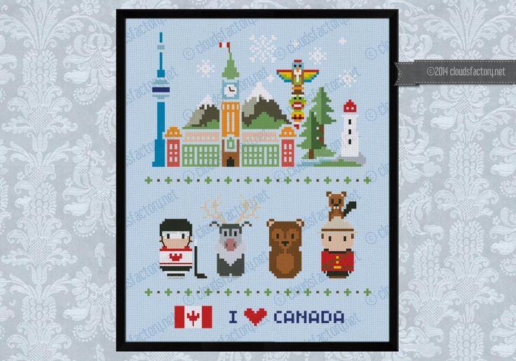 Canada icons (big version) - Mini people around the world - cross stitch pattern