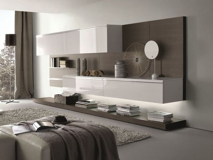 Sectional wallmounted lacquered wooden storage wall TAO