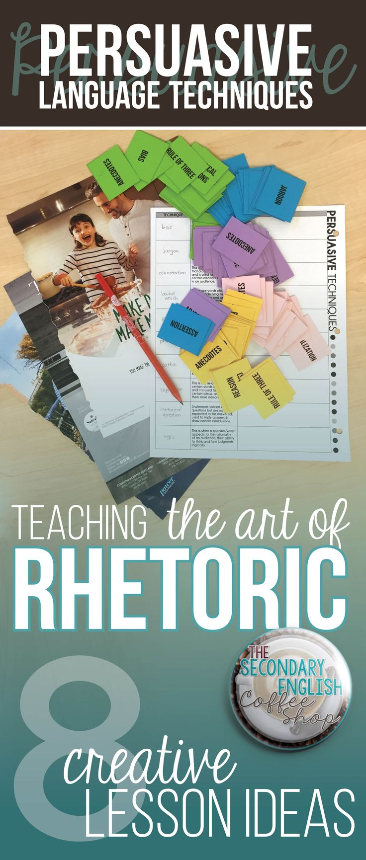 A blog post with free teaching resources and ideas for teaching rhetoric, and persuasive language techniques.