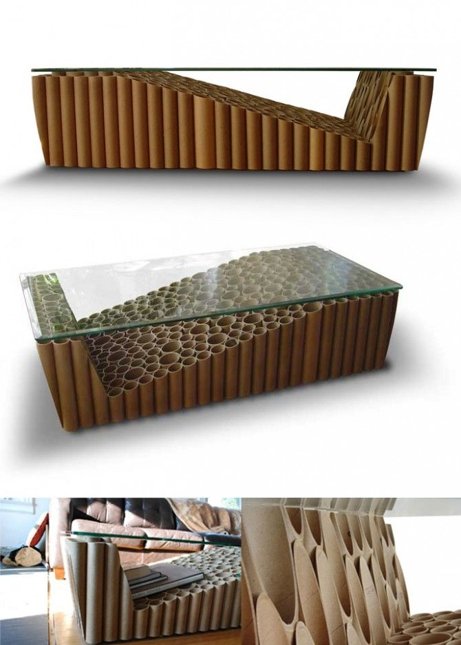 Esta mesa de café utiliza 307 tubos de cartón para crear una base