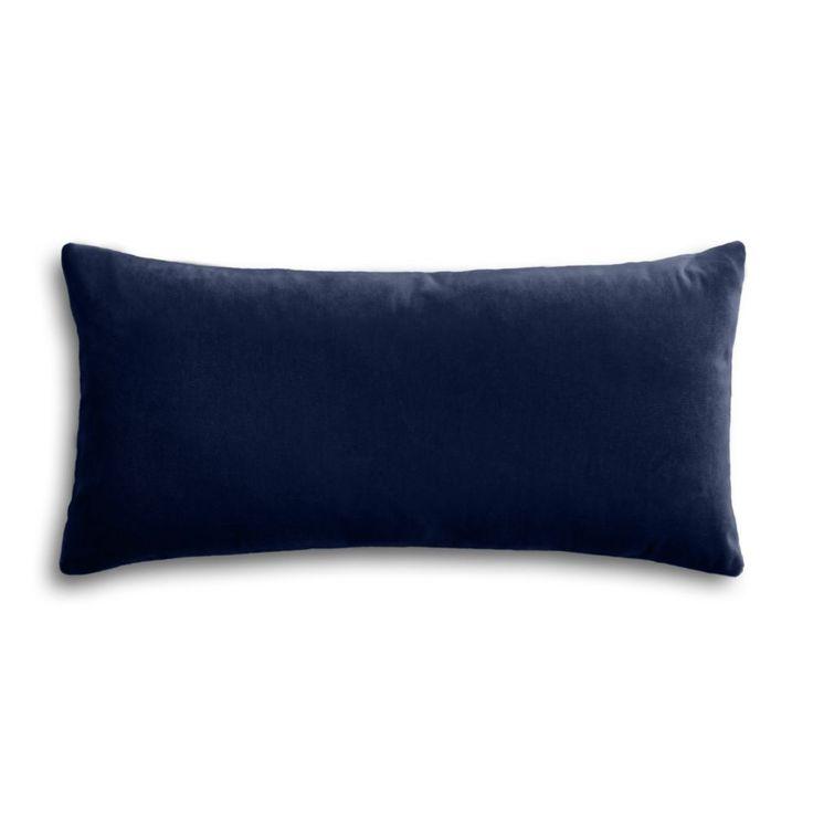 Navy Blue Velvet Lumbar Pillow Front Schiller