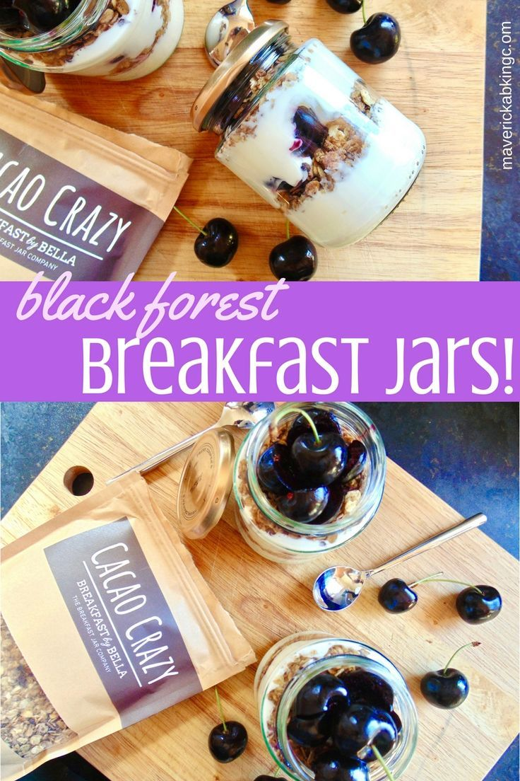 Black Forest Breakfast Jars; chocolate, cherry and cream, all the delicious classic flavours of the famous gateaux in a high protein, healthy breakfast jar!