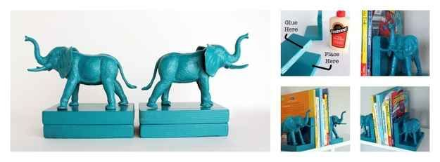 Plastic Elephants - spray paint plastic animals and glue onto blocks (or bricks) - some other cute bookend ideas here