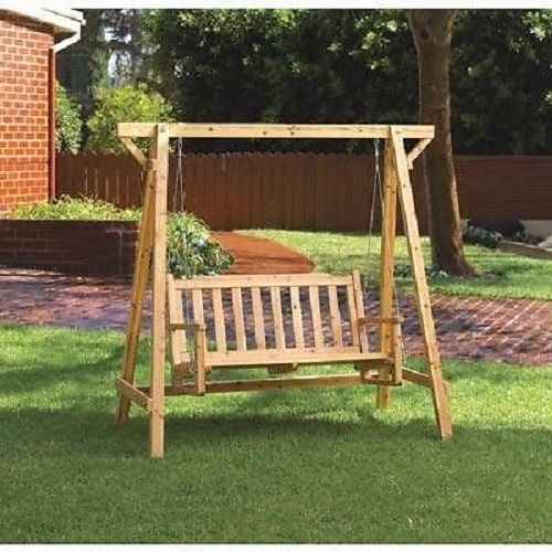 Outdoor Wooden Garden Swing Porch Furniture Swinging Patio Bench Wood  Glider #HomeLocomotion