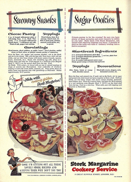 Savoury snacks and sugar cookie recipes from Stork Margarine, 1955.