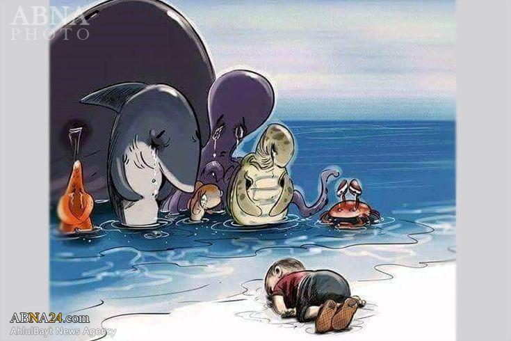 Karikatur Bocah Suriah yang Tenggelam Tampar PBB, Turki dan Raja-raja Arab - AhlulBayt News Agency - ABNA - Shia News