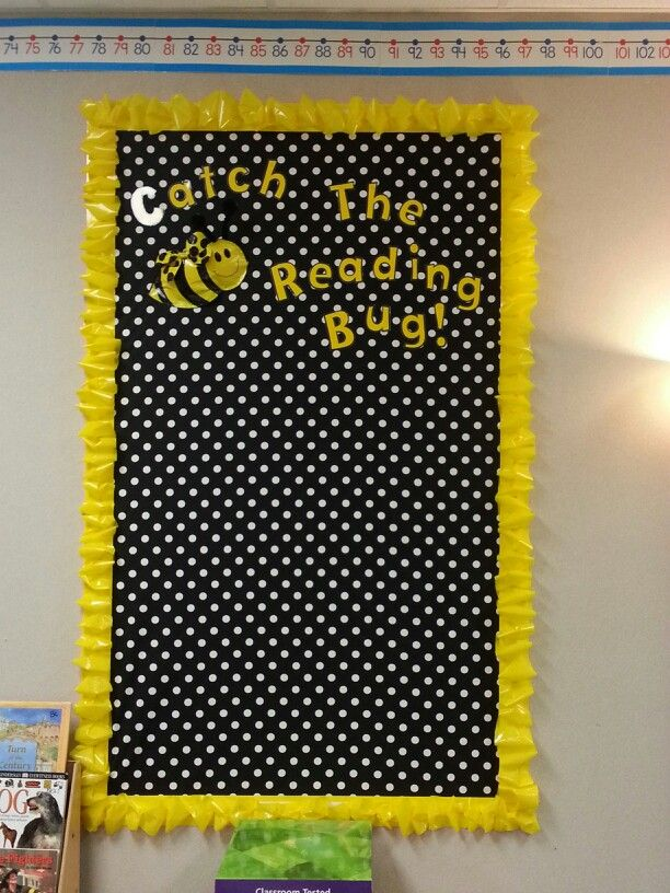 Classroom Decor Black And White ~ Catch the reading bug bee themed bulletin board polka
