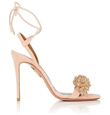 """Monaco suede sandals-pink by Aquazzura. Crafted of pink suede, Aquazzura's Monaco ankle-tie sandals are embellished with clear crystals and beads. 4""""/100mm h..."""