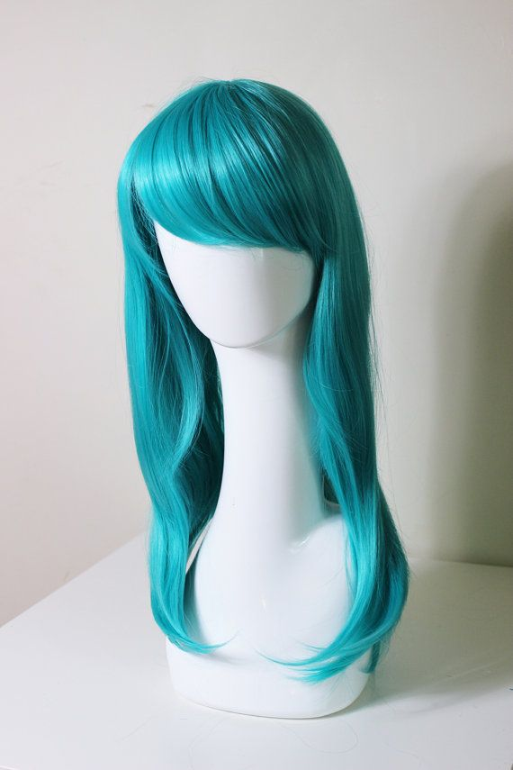 Medium Lentgh Teal cosplay wig Lum Bulma briefs by CookieKwigs, $29.50