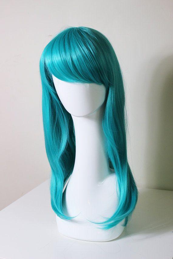 Medium Lentgh Teal cosplay wig Lum Bulma briefs by CookieKwigs, $29.50