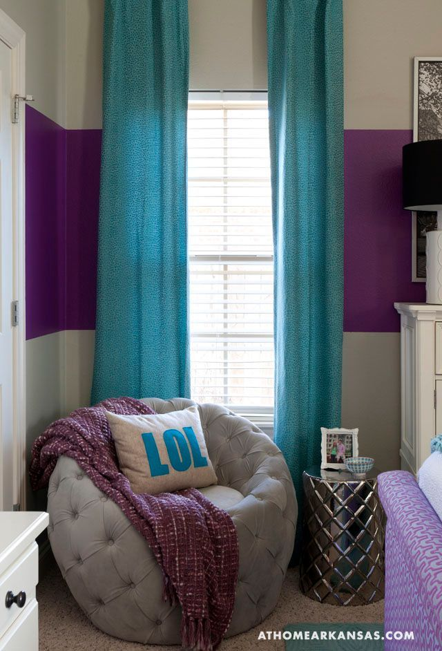 The analogous colors of blue and purple makes this a modern 13 year old girls room.