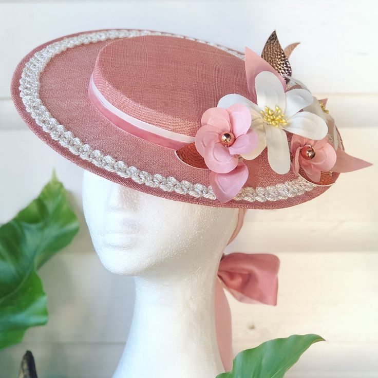 Pink Boater Hat - by Hats by Helen
