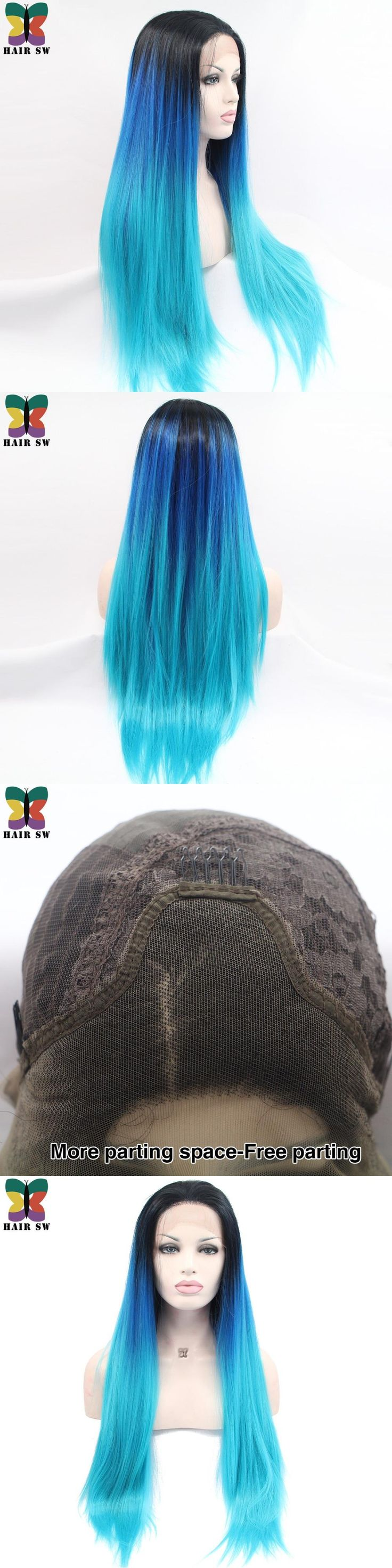 HAIR SW Long Straight Synthetic Lace Front Wig Dark Blue to Light Blue With Black Roots Half Hand Tied 3 Tones Ombre Cos Wigs