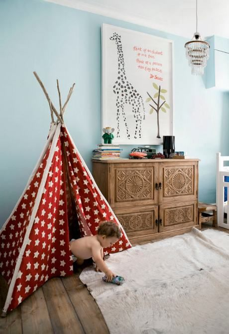 River's room is already that blue -- love all the different textures (we also have red in his room)...