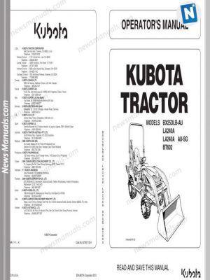 Kubota Tractor BX25DLB LA240 BT602 Workshop Manual