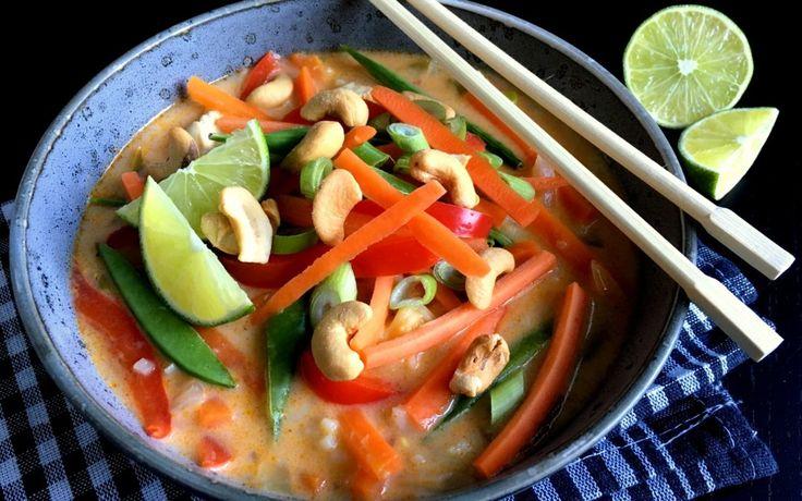 Spicy thaisuppe med kylling og nudler…