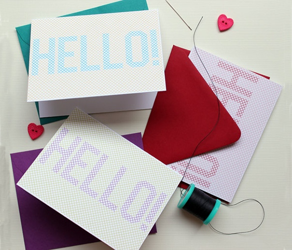 Hello CardsCards Scrapbook, Hello Cards, Holiday Cards, Hollywould Cards, White Invitations, Colours Envelopes, Vibrant Colours, Pretty Needlepoint, Crafts