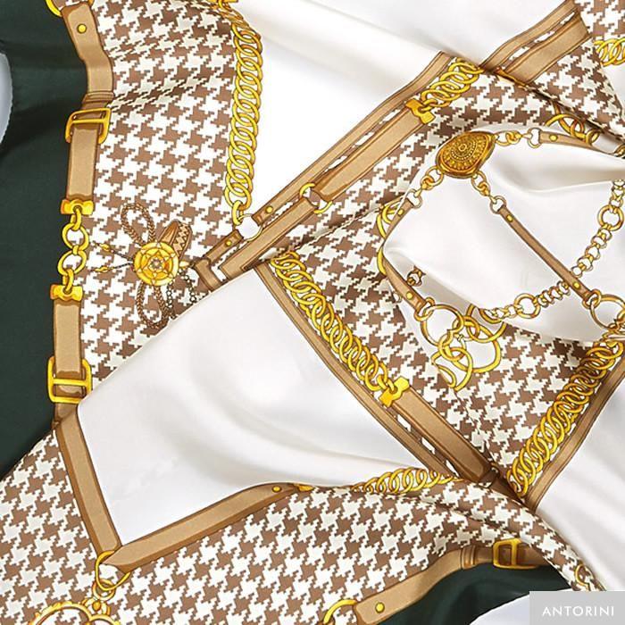 ANTORINI Horseshoe Silk Scarf in Green