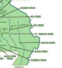 Missouri Float Trips by Area