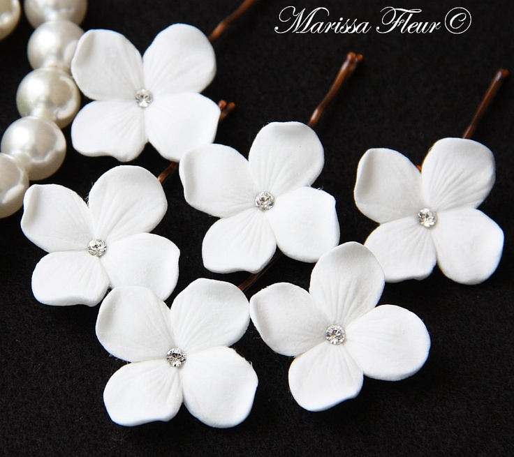 Wedding Bridal Hair Pins Set Of 6 White Or Ivory by marissafleur, $20.00