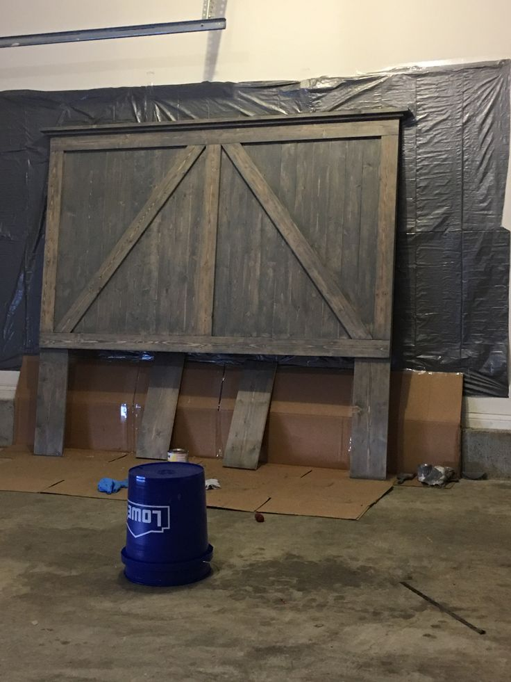 Weathered grey stain, matte poly  Barn door style king size headboard:) easier than you think. I did it.