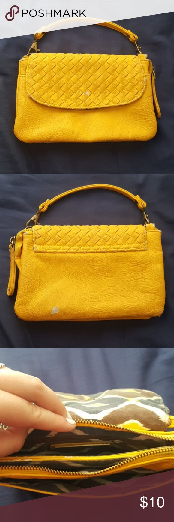 Yellow purse Can also be a clutch Has some small rips here and there Francesca's Collections Bags