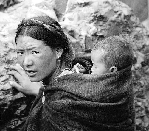 Tibetan mother with child