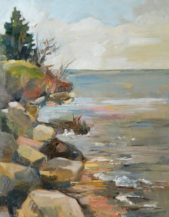 Original Oil Landscape Painting Lake Erie Coast by Marty Husted