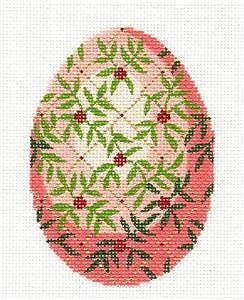 LEE Jeweled Egg Vines & Trellis Hand Painted Needlepoint Canvas