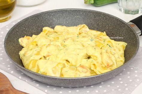 Paccheri cremosi allo zafferano con zucchine e gamberetti