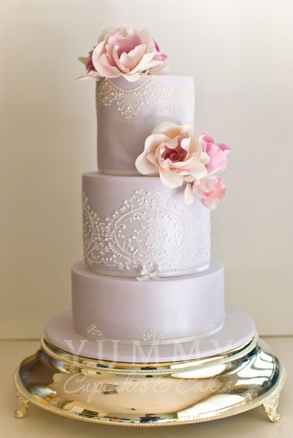 Beautiful pale violet wedding cake by http://yummycupcakes.com.au