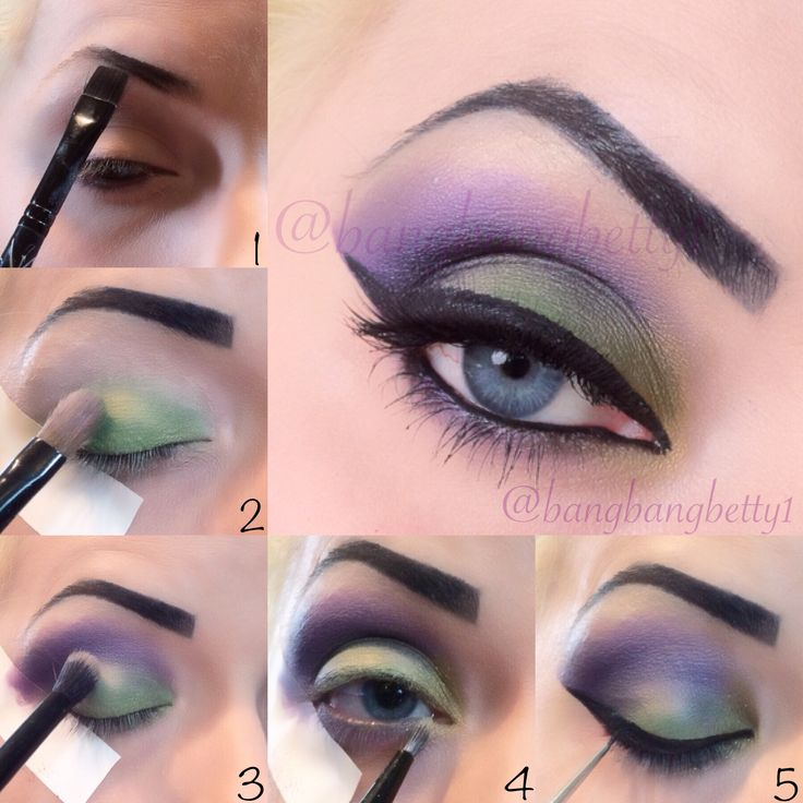 Pictorial for wearable Maleficent look! Maleficent, eye, shadow, makeup, liner, green, purple, tutorial, pictorial, eye