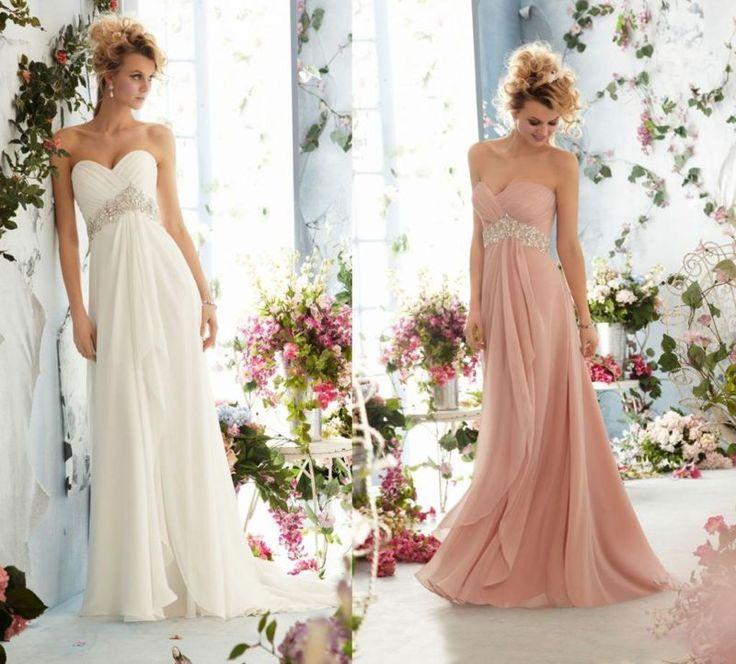 Chiffon Beaded Rhinestone Empire Dress Prom Evening Bridesmaid Dresses Size 6-16