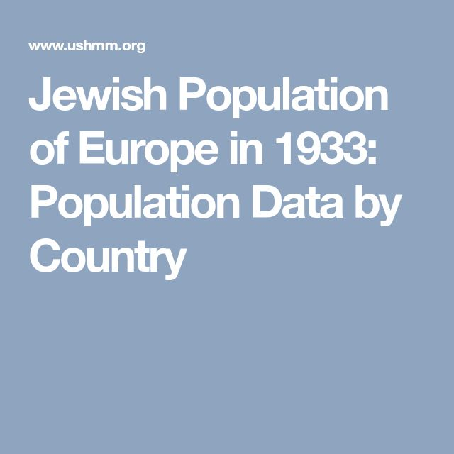 Jewish Population of Europe in 1933: Population Data by Country