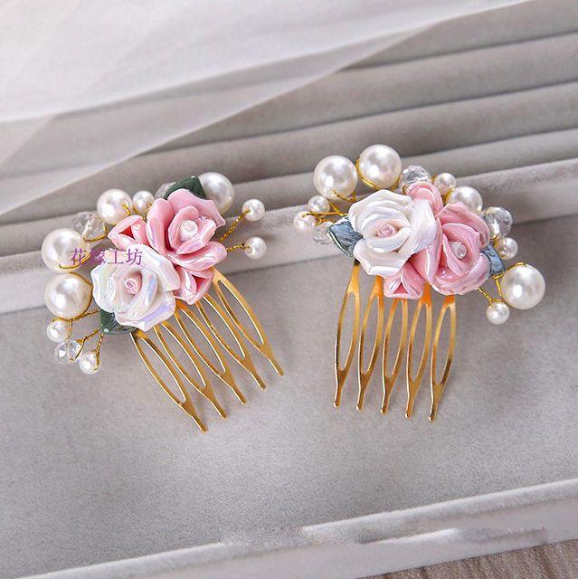 2 pçs/lote flor cabeça noiva Coreano pequeno fresco artesanal de cerâmica flores do casamento de noiva acessórios para o cabelo pente de cabelo