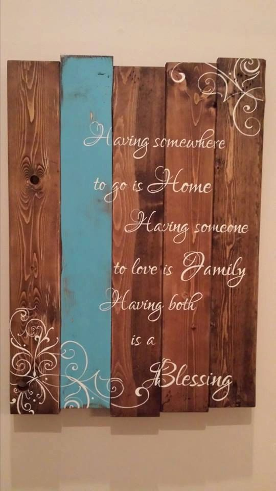Having somewhere to go is home, having someone to love is family, having both is a blessing. This plaque is perfect for every home.. whether your