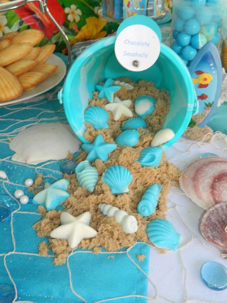 Seashell birthday party candy! See more party planning ideas at CatchMyParty.com!