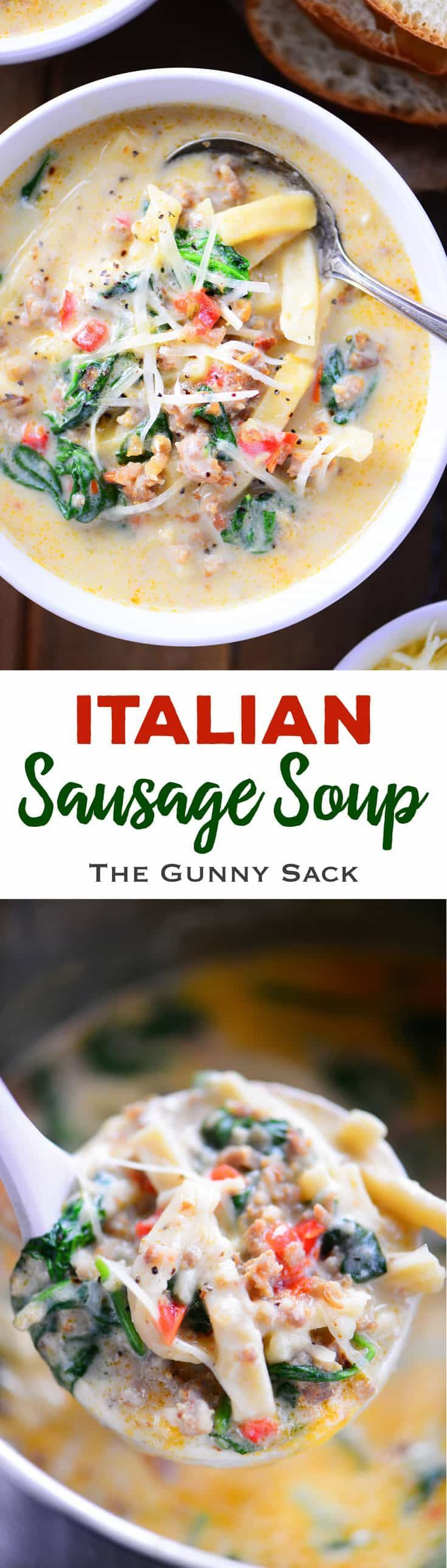 Italian Sausage Soup recipe for a creamy, comforting soup with noodles that is full of flavor and perfect for a family dinner during the cold winter months! #soup #comfortfood