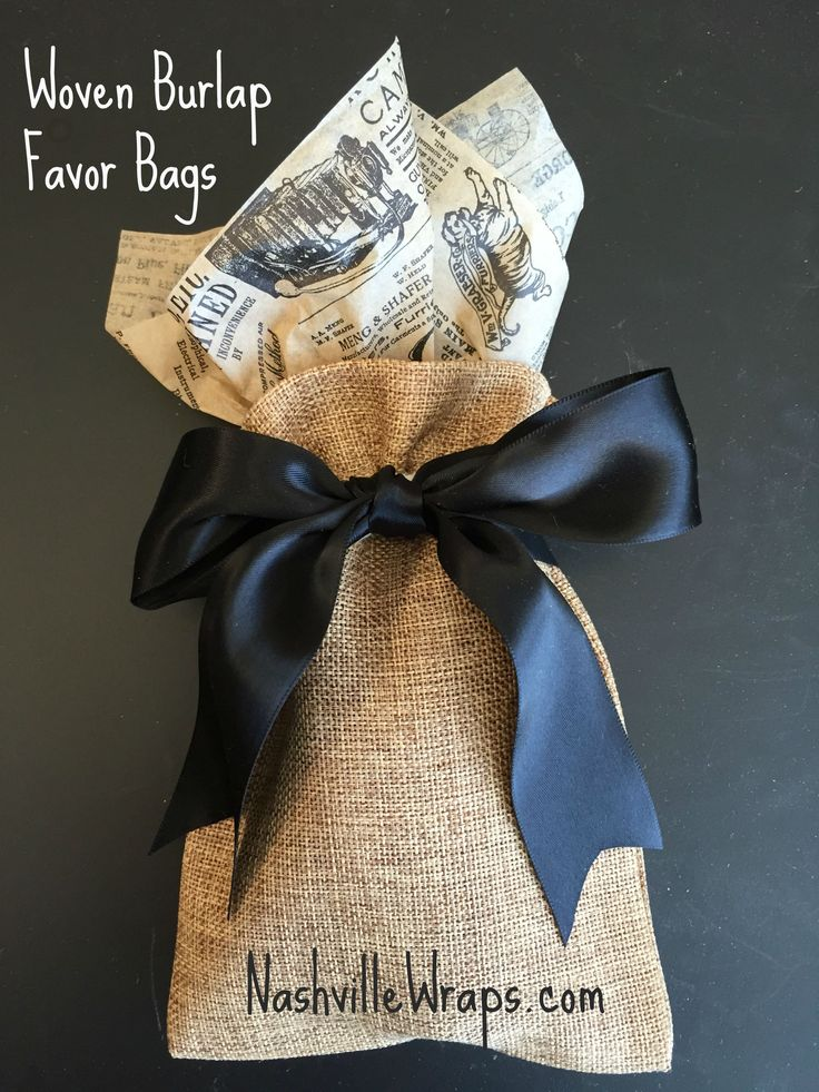 Woven Burlap Favor Bags have the look