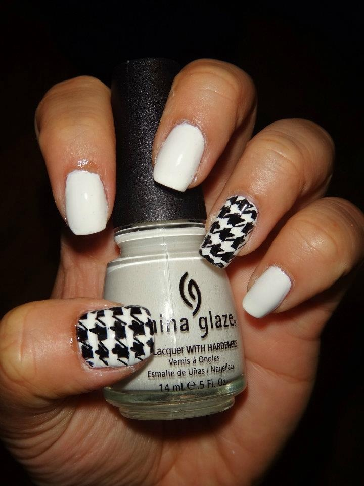 China Glaze - White on White  Houndstooth Pattern