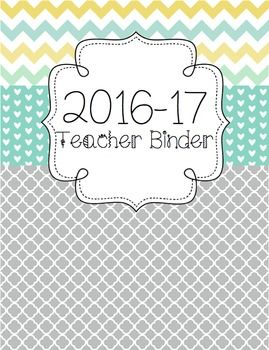 *FREE UPDATES EACH YEAR!* Version:  2016-17 School YearThis file includes:   2016-17 Teacher Binder: Style 1   2016-17 Teacher Binder: Style 2 This teacher binder set includes the following:  binder covers and spine labels (with and without dates), binder tabs, Parent Communication Log, Professional Development Log, Meeting Notes form, Logins/Passwords form, Websites to Remember form, Notes form, Student Birthdays form, July 2016-July 2017 Teacher Calendar, student information binder cover…