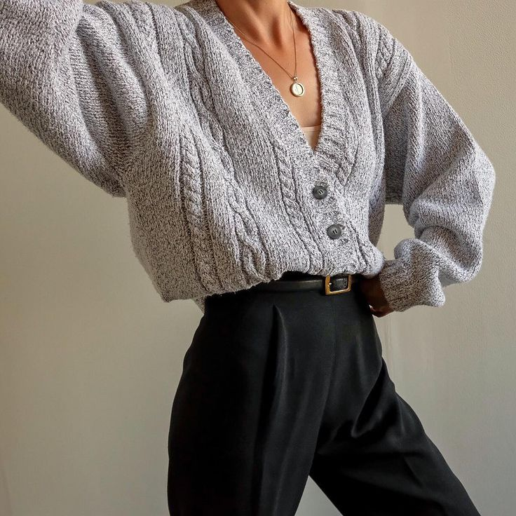 Goodshop Badshop Vintage pebble gray 100% cotton thick knit cropped cardigan,