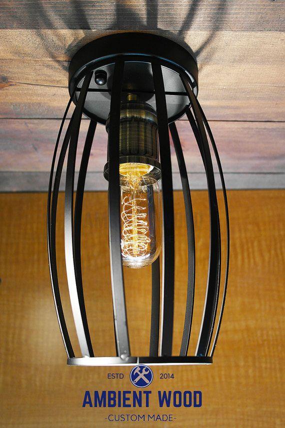 Black Cage ceiling light Industrial Aluminium light, Antique Edison Bulb, Lamp, Rustic Lighting